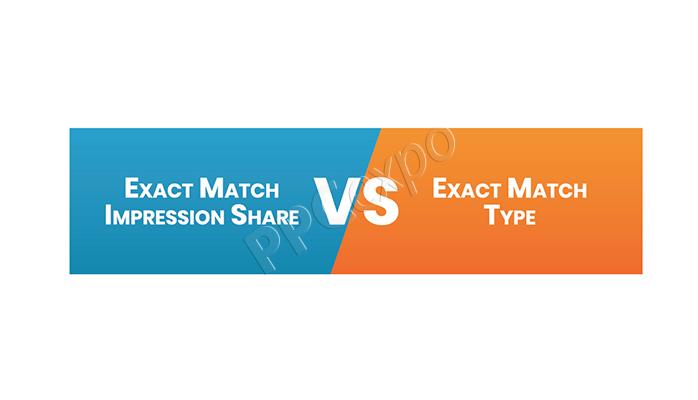 adwords exact match impression share vs exact match type