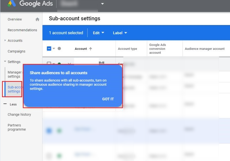 manage google ads account setting