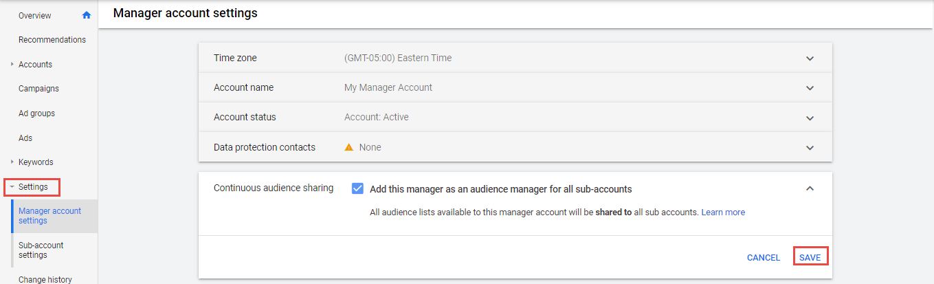 manage account setting