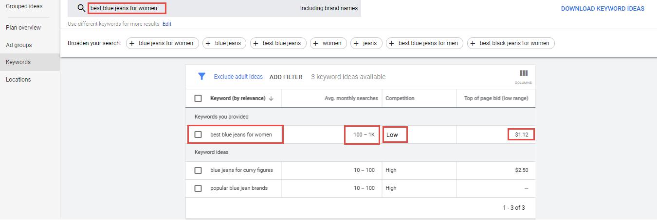 example of keyword planner